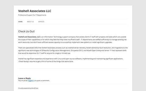 Screenshot of Home Page voshellassoc.com - Voshell Associates LLC | Professional Support for IT Departments - captured Oct. 6, 2014