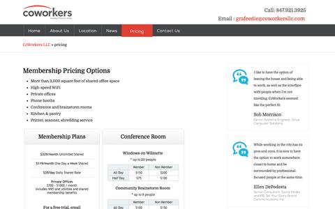 Screenshot of Pricing Page coworkersllc.com - pricing - captured July 19, 2018
