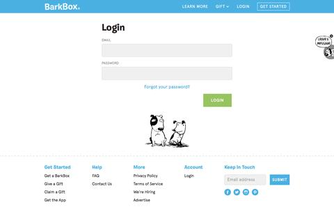 Screenshot of Login Page barkbox.com - Dog Toys, Treats & Gifts Every Month | BarkBox - captured Dec. 13, 2015