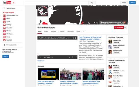 Screenshot of YouTube Page youtube.com - thrilltheworldnyc  - YouTube - captured Oct. 29, 2014