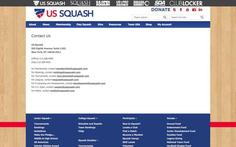 Screenshot of Contact Page ussquash.com - US SQUASH   |  Contact Us - captured July 21, 2016