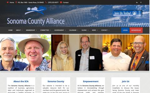 Screenshot of Home Page sonomacountyalliance.com - Welcome to Sonoma County Alliance - captured Jan. 12, 2016