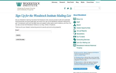 Screenshot of Signup Page woodstockinst.org - Sign Up for the Woodstock Institute Mailing List   Woodstock Institute - captured Dec. 3, 2016