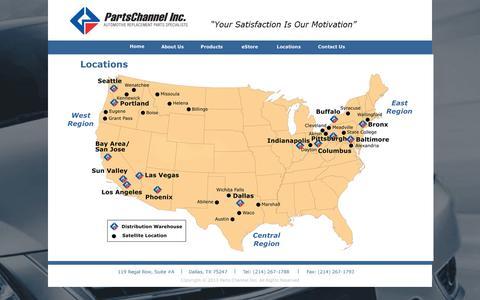 Screenshot of Locations Page partschannel.com - Locations - captured Sept. 11, 2014