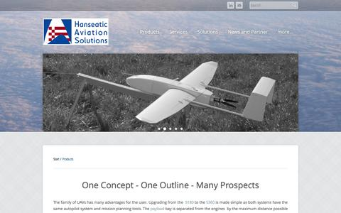Screenshot of Products Page hanseatic-avs.de - Products - Innovative UAVs | Hanseatic Aviation Solutions GmbH - captured Oct. 2, 2014
