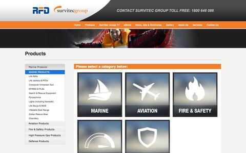 Screenshot of Products Page rfd.com.au - Survitec Group Australia - Marine Products - captured Oct. 7, 2014