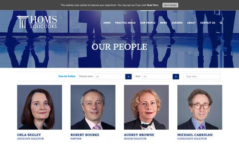 Screenshot of Team Page homs.ie - Holmes O'Malley Sexton Solicitors, Limerick Dublin, Ireland - Our People - captured Dec. 15, 2018