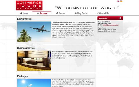 Screenshot of Services Page commercetours.at - Services - Commerce Tours Reisebüro - captured Oct. 2, 2014