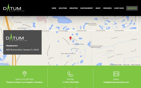 Screenshot of Contact Page datumcorporation.com - Contact Us | DATUM Corporation - captured Oct. 29, 2014