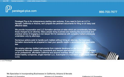 Screenshot of Home Page paralegal-plus.com - Paralegal Plus LLC Formation - captured Sept. 26, 2018