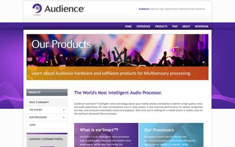 Screenshot of Products Page audience.com - The World's Most Intelligent Processor | Audience - captured Sept. 13, 2014