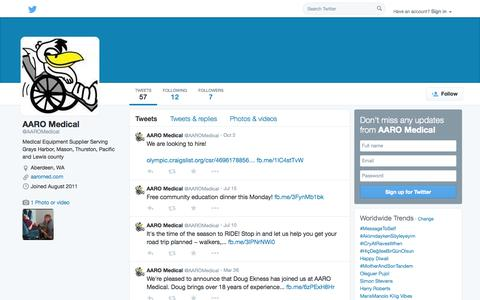 Screenshot of Twitter Page twitter.com - AARO Medical (@AAROMedical) | Twitter - captured Oct. 23, 2014