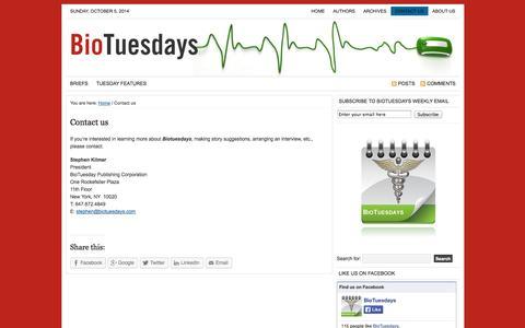Screenshot of Contact Page biotuesdays.com - Contact us | BioTuesdays - captured Oct. 5, 2014