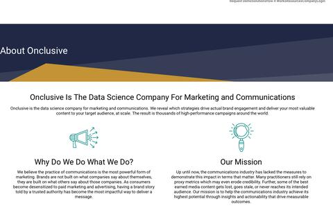 Screenshot of About Page onclusive.com - Onclusive is the Data Science Company For Marketing & Communications - captured July 19, 2019
