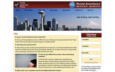 Screenshot of FAQ Page seattleapartmentfinders.com - FAQs - Seattle Apartment Finders - captured Jan. 12, 2016