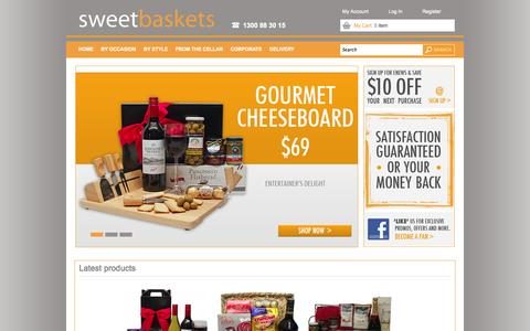 Screenshot of Home Page sweetbaskets.com.au - Welcome to SweetBaskets - Chocolate, Gourmet, Savoury, Wine & Beer Gift Baskets and Hampers for all Occasions - captured Sept. 30, 2014