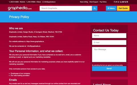 Screenshot of Privacy Page graphedia.ie - Privacy Policy - Graphedia - captured Sept. 30, 2018