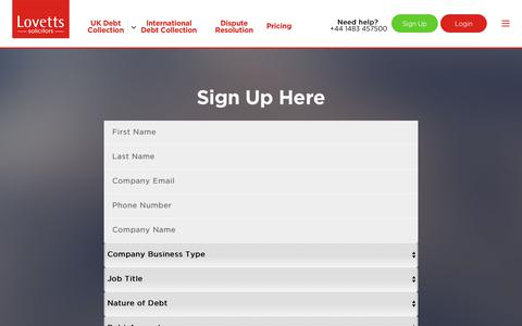 Screenshot of Signup Page lovetts.co.uk - Sign Up - captured Aug. 29, 2017
