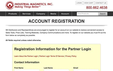 Screenshot of Signup Page magnetics.com - Industrial Magnetics, Inc. - Registration - captured Nov. 26, 2016