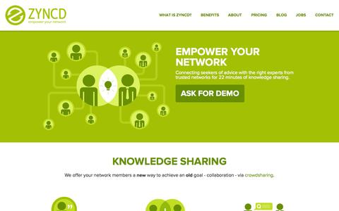 Screenshot of Home Page zyncd.com - Zyncd - Empower Your Network - captured Sept. 17, 2014