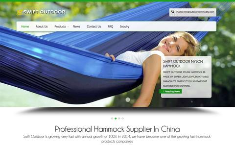 Screenshot of Home Page outdoorcommodity.com - SWIFT OUTDOOR (CHINA) PRODUCTS CO.,LIMITED-Professional Hammock Supplier In China - captured Sept. 4, 2015