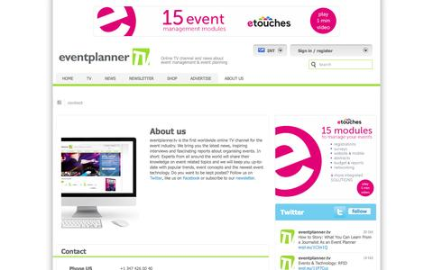 Screenshot of About Page Contact Page eventplanner.tv - Contact | eventplanner.tv - captured Oct. 23, 2014