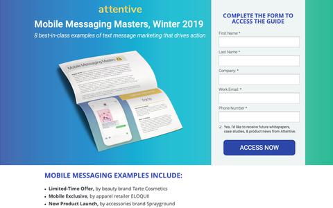 Screenshot of Landing Page attentivemobile.com - Mobile Messaging Masters, Winter 2019 - captured June 18, 2019