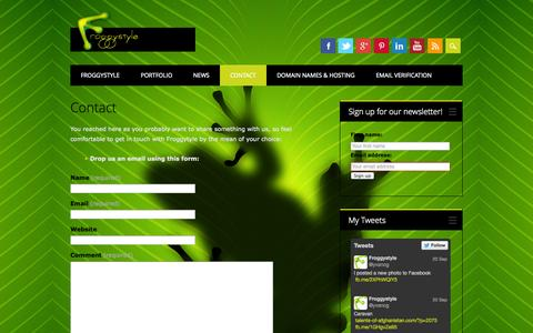 Screenshot of Contact Page froggystyle.biz - Contact Froggystyle Now! - captured Sept. 26, 2014