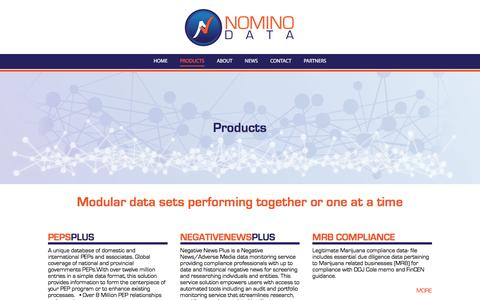 Screenshot of Products Page nominodata.com - Products – NominoData - captured Nov. 30, 2016
