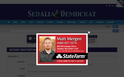 Screenshot of Signup Page sedaliademocrat.com - User | sedaliademocrat.com - captured Sept. 20, 2018