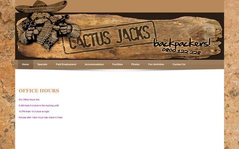 Screenshot of Hours Page cactusjackbackpackers.co.nz - Cactus Jack > Home > Hours - captured June 16, 2016