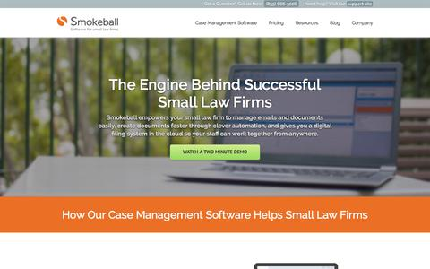 Screenshot of Home Page smokeball.com - Case Management Software for Small Law Firms - Smokeball - captured Feb. 23, 2016