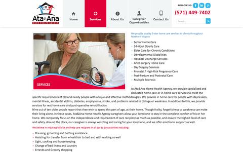 Screenshot of Services Page ataanah.com - Services | Ata&Ana Home Health Agency - captured Oct. 4, 2014