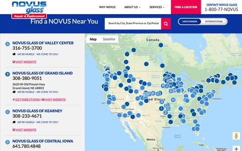 Screenshot of Locations Page novusglass.com - Windshield Replacement Near Me - Novus Glass - Repair and Replacement - captured Nov. 7, 2018