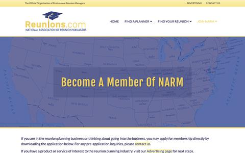 Screenshot of Signup Page reunions.com - Join National Association of Reunion Managers - National Assn of Reunion Managers - captured Nov. 21, 2018