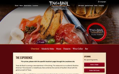 Screenshot of Menu Page texasdebrazil.com - Overview | Texas de Brazil - Brazilian Steakhouse - captured Jan. 17, 2016