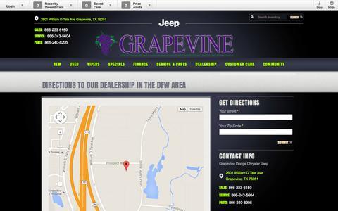 Screenshot of Maps & Directions Page grapevinedcj.com - Direction to Grapevine Dodge | Dealership near Dallas | Fort Worth Car Dealer - captured Nov. 2, 2014