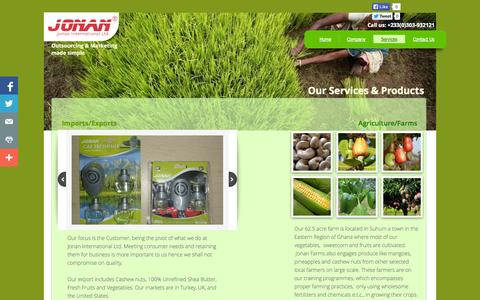 Screenshot of Services Page jonaninternational.com - Services - captured Oct. 6, 2014