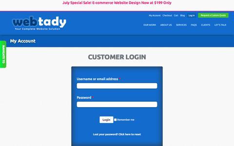 Screenshot of Login Page webtady.com - Webtedy - Account login and signup - Webtady - captured July 9, 2018