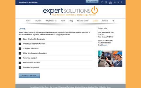 Screenshot of Jobs Page expertsolutionsinc.com - Careers   Expert Solutions, Inc.    Expert Solutions, Inc. - captured Sept. 30, 2014