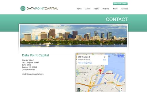 Screenshot of Contact Page datapointcapital.com - Data Point Capital - A venture capital fund focused on the internet. - captured Sept. 30, 2014