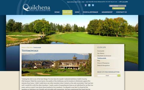 Screenshot of Testimonials Page qgolfclub.ca - Testimonials   QGolf Club Private Golf Course   Quilchena Vancouver Lower Mainland and Richmond, British Columbia - captured Oct. 3, 2014