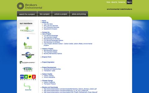 Screenshot of Site Map Page brokerscarbon.com - Sitemap | Brokers Carbon - Carbon credits, carbon offsets, environmental projects - captured Sept. 30, 2014
