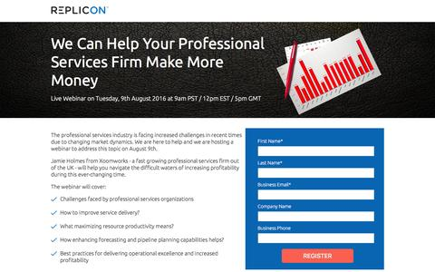Screenshot of Signup Page replicon.com - We Can Help Your Professional Services Firm Make More Money - captured July 29, 2016
