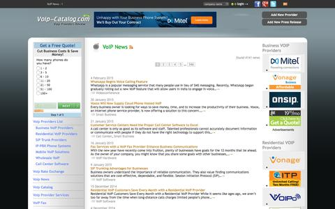 Screenshot of Press Page voip-catalog.com - VoIP News - 1 : voip providers, voip services review - captured Sept. 19, 2016
