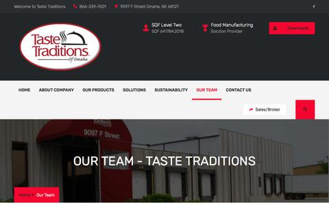 Screenshot of Team Page tastetraditions.com - Our Team – Taste Traditions - captured Sept. 21, 2018