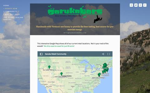 Screenshot of Locations Page garukabars.com - Retail Locations — Garuka Bars - captured May 11, 2017