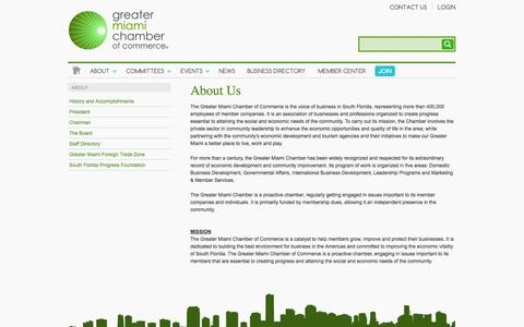 Screenshot of About Page miamichamber.com - About Us | Greater Miami Chamber of Commerce - captured Sept. 24, 2014