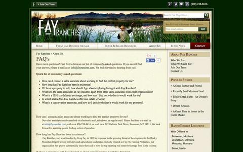 Screenshot of FAQ Page fayranches.com - FAQ's | Fay Ranches - captured Sept. 23, 2014