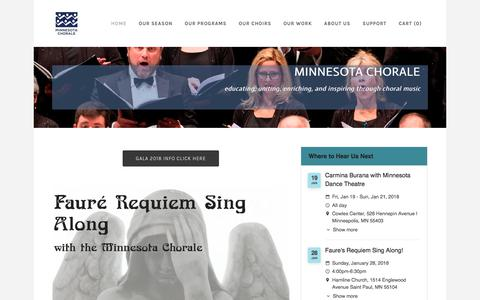 Screenshot of Home Page mnchorale.org - Minnesota Chorale - Minnesota Chorale - captured Jan. 19, 2018